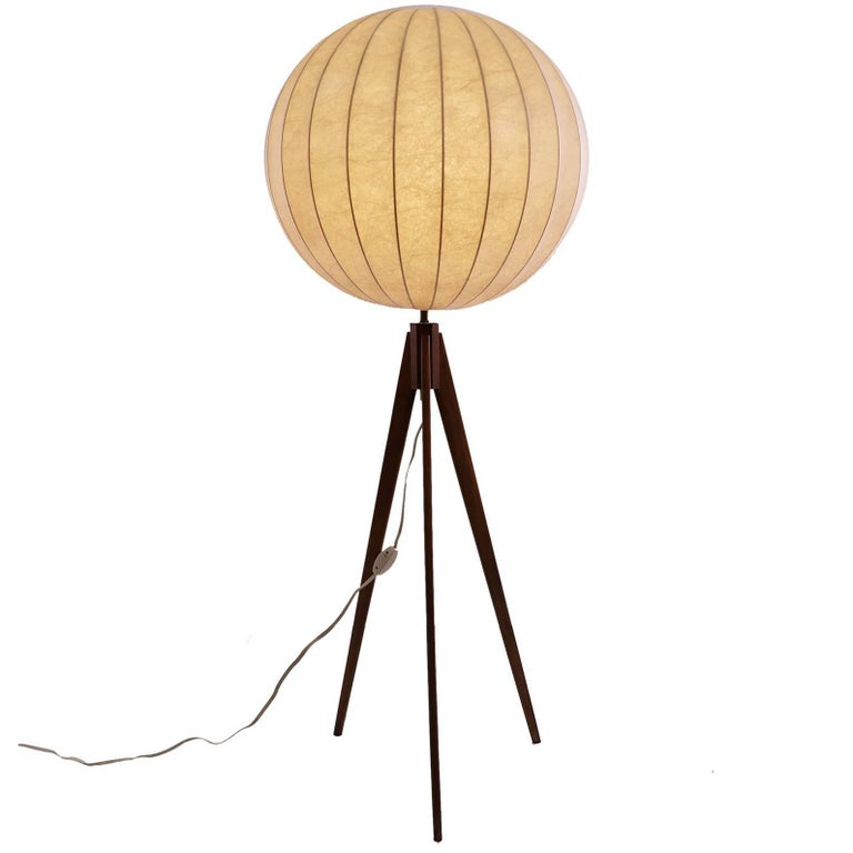 Danish modern cocoon floor lamp on tripod teak base for for Tripod spotlight floor lamp in teak wood