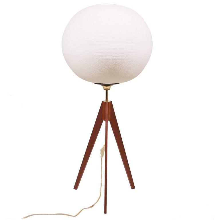 Danish Modern Floor Lamp on Tripod Teak Base