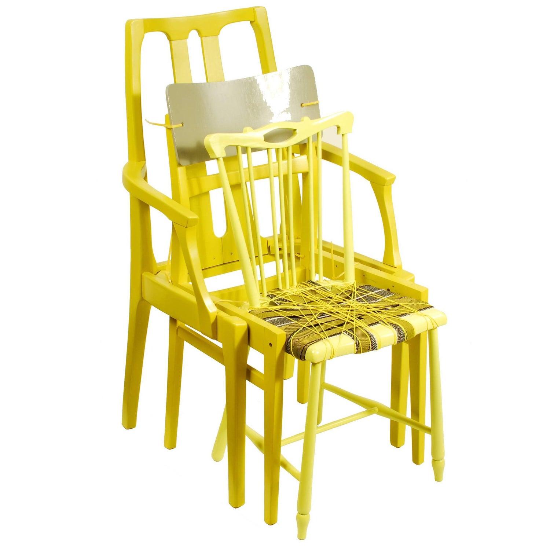 Contemporary Yellow Chair Custom Chair Assemblage by Karen Ryan