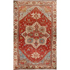 Oversize Antique Persian Heriz Serapi Rug