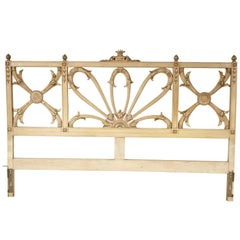 Hollywood Regency Style Carved and Paint Decorated Wood King Size Headboard