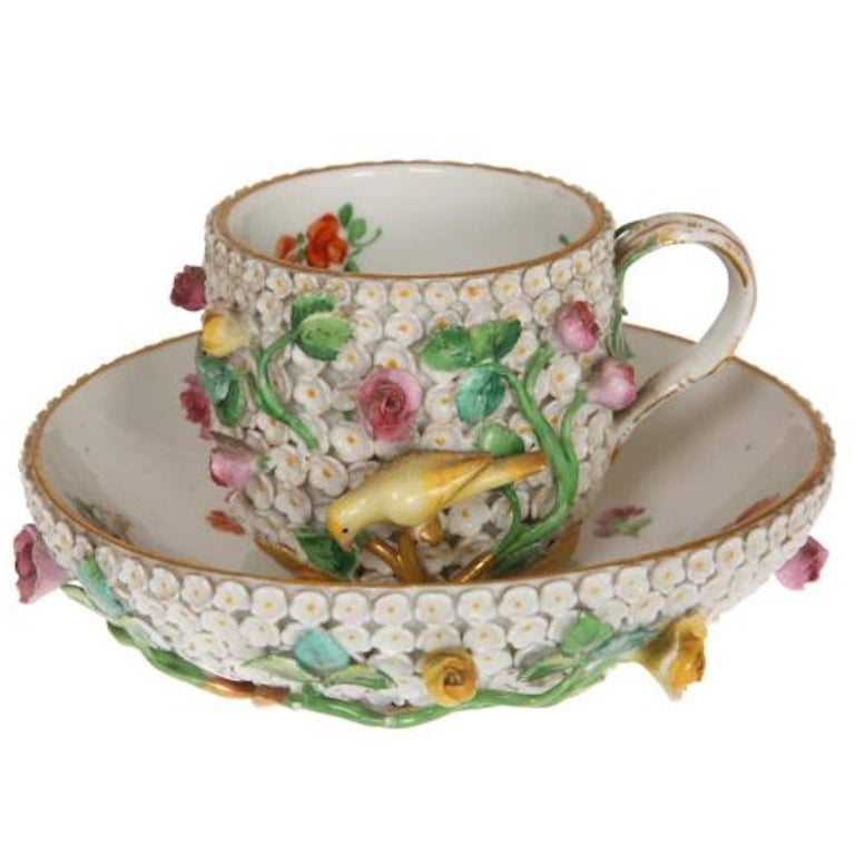 Early 19th Century Meissen Porcelain Schneeballen Cup and Saucer
