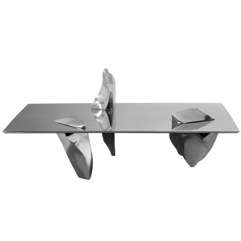 """Sereno"" Aluminum/Gold Plated Legs Coffee Table by Fredrikson Stallard, Driade"