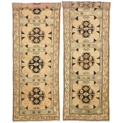 Pair of Vintage Turkish Oushak Carpet Runners with Modern Style and Muted Colors