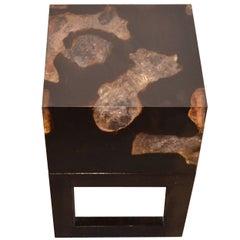 Andrianna Shamaris Cracked Resin with Teak Wood Side Table
