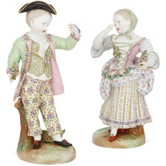Pair of Large Antique Meissen Style Porcelain Figures of a Couple