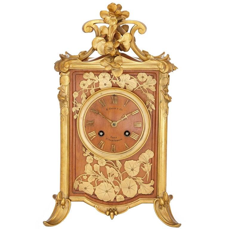 Art Nouveau Period Gilt Bronze Mounted Wooden Mantel Clock by Colin & Cie