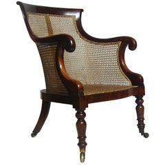 Regency Mahogany Bergere Library Tub Chair