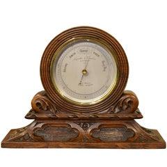Victorian Brass Desk Aneroid Barometer