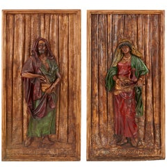 Pair of Large Orientalist Style Antique Polychromed Spelter Plaques by Hottot
