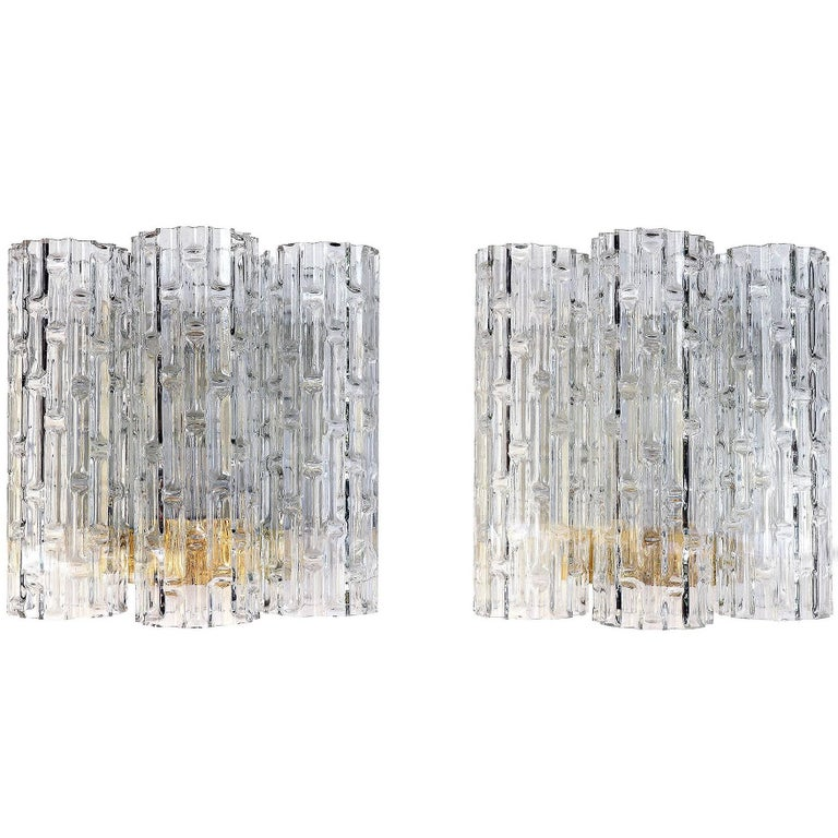 Pair of Wall Sconces with Large Murano Glass Tubes by Doria, 1960s
