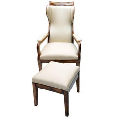 Biedermeier Winged Armchair and Stool, Set