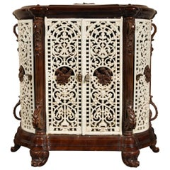 Antique French Enamel Cast Iron Room Heating Stove Repurposed as a Cabinet