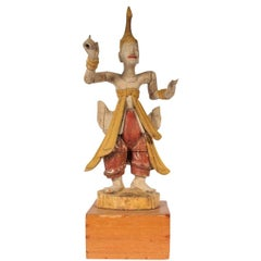 Antique South Asian Carved and Painted Wood Court Dancer Figure