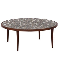 Mid-Century Modern Round Coffee Table with Tile Top by Gordon & Jane Martz