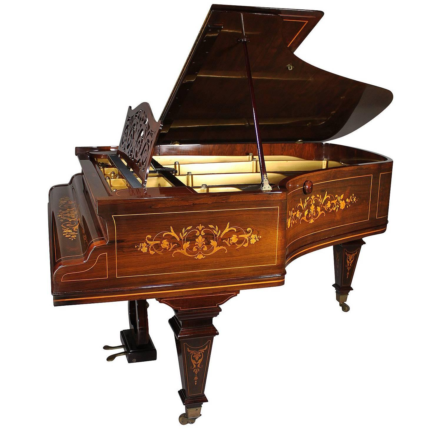 19th Century Louis XIV Style Marquetry Baby Grand Piano by Collard & Collard