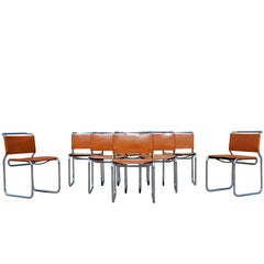 Mid-Century Modern Set of Eight Nico Zographos Leather Dining Office Chairs