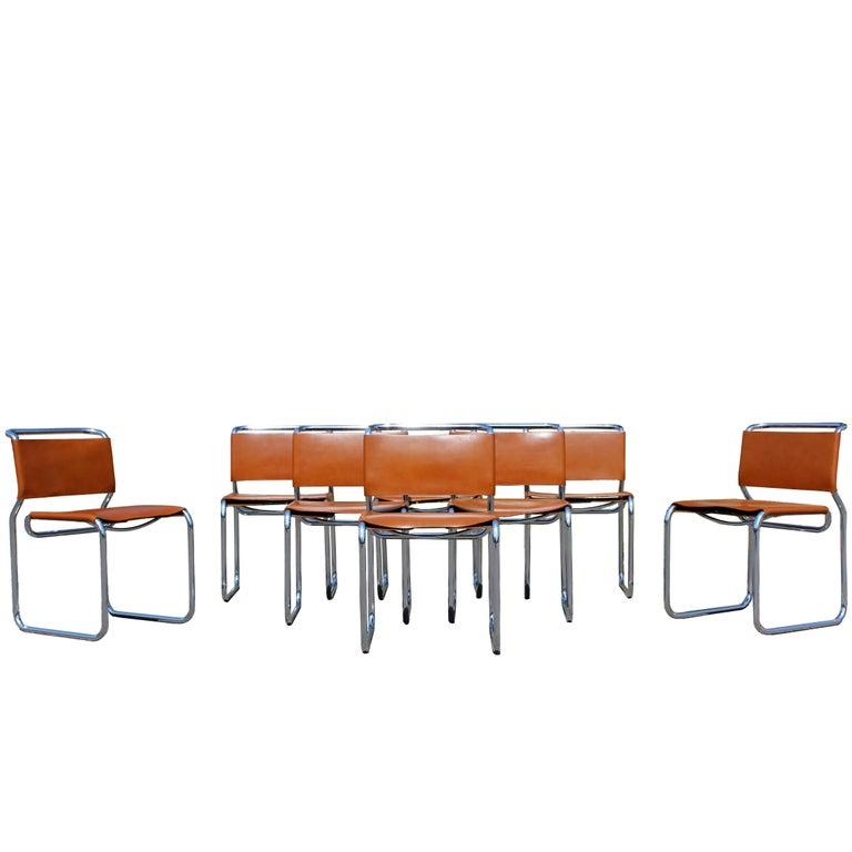 Mid Century Modern Set Of Eight Nico Zographos Leather