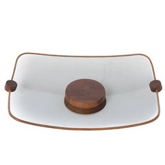 1970s Modern Smoked Glass Horderves Tray