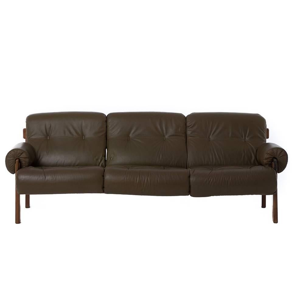 1970s Modern Brazilian Olive Green Leather And Rosewood Sofa