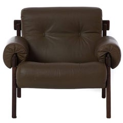 1970s Modern Brazilian Modern Leather Lounge Chair
