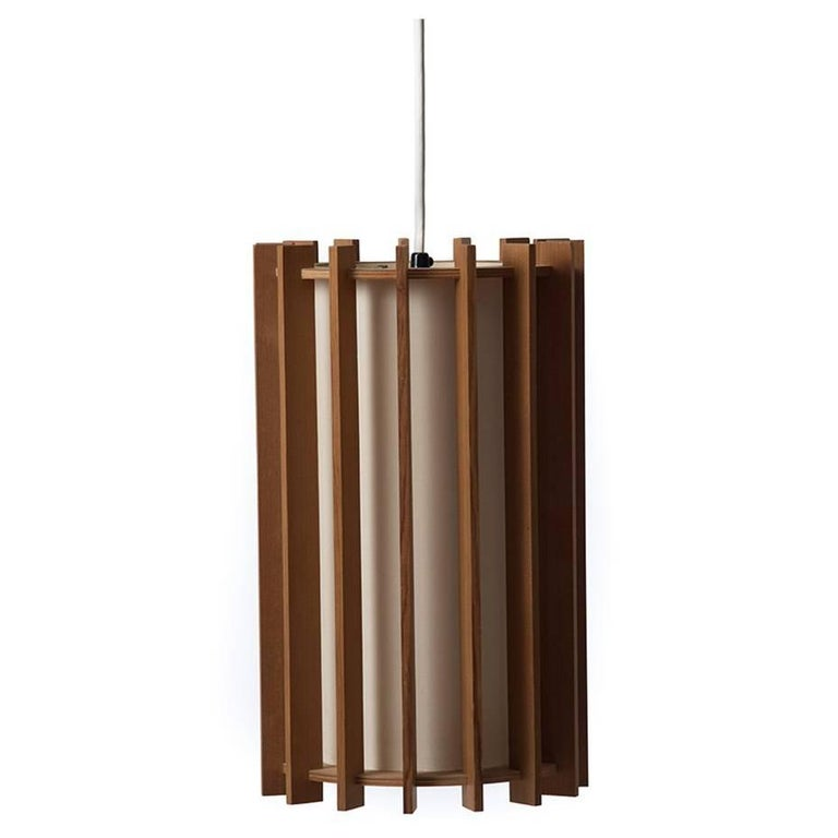 Danish Modern Pendant Light Fixture with Fir Slats For Sale