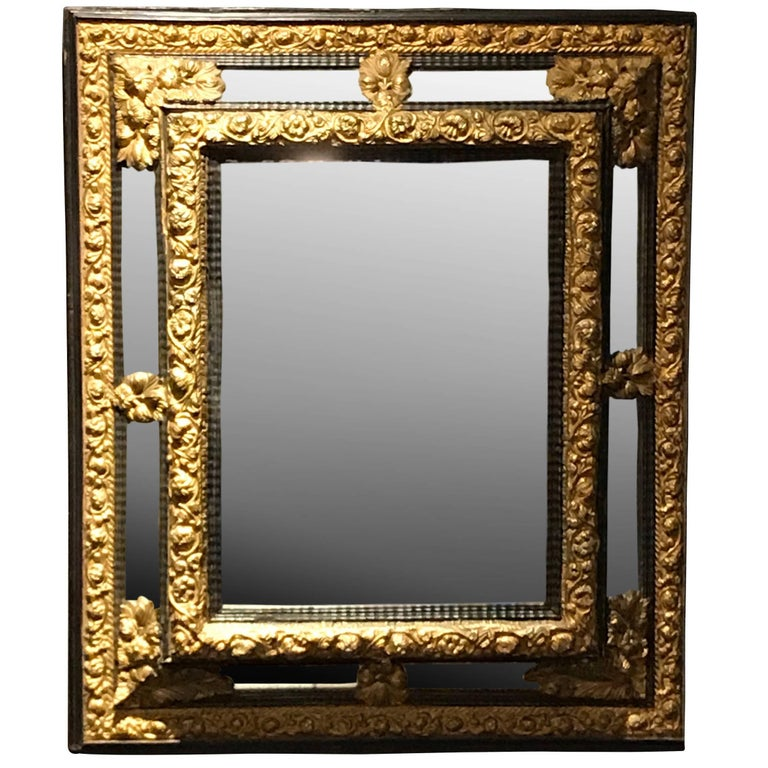 Gold Gilt Metal and Ebony Framed Mirror, France, 19th Century