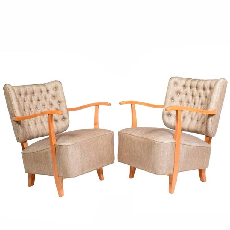 1940s Scandinavian Easy Chairs in the Manner of Fritz Hansen For Sale