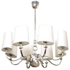 Scandinavian Modern Eight-Arm Silver Plated Bronze Chandelier with Shades