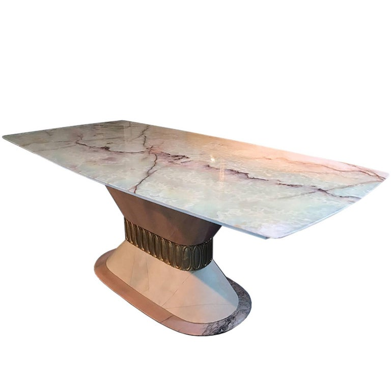 Italian Art Deco Marble Dining Table Style of Osvaldo Borsani, 1940s For Sale