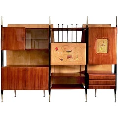 Mid-Century Modern Italian Wall Unit Bookcase and Sideboard, 1950s