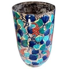 Platinum-Gilded Hand-Painted Porcelain Vase by Japanese Master Artist