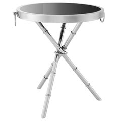 Bamboo Chrome Side Table in Polished Stainless Steel