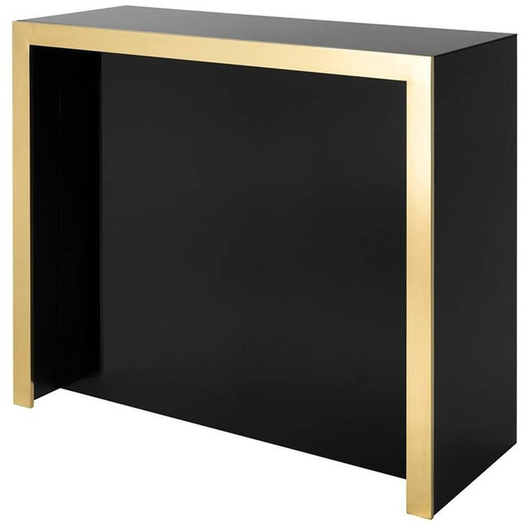Mac Allister Gold Bar in Gold Finish and Black Glass Top