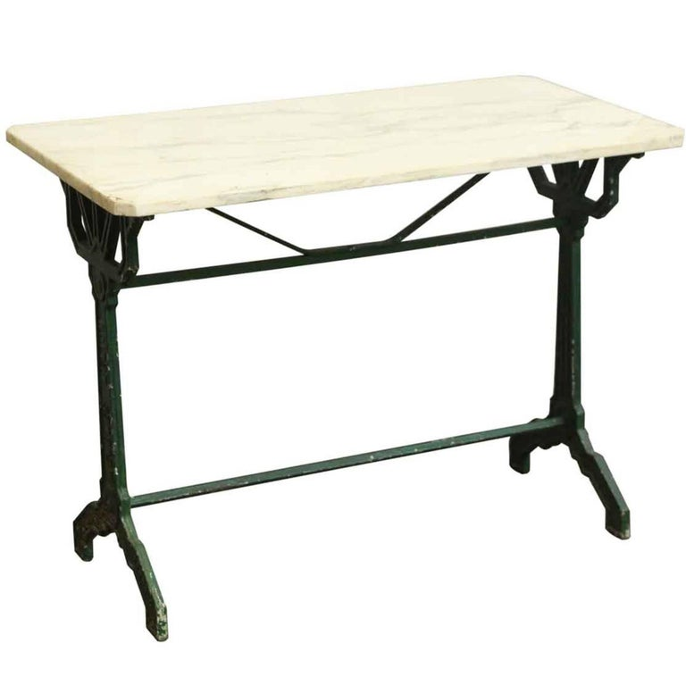 1930s french bistro table with marble top and green cast for Cast iron table base marble top