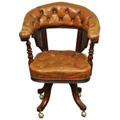 Antique English Leather Desk Chair