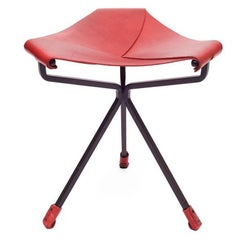 Quark Stool by Dan Wenger in Red Leather and Steel