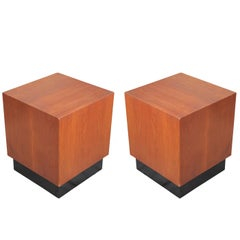 Modern Pair of Walnut Baughman Style Cube End or Side Tables