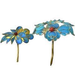 Kingfisher Feather Hair Pins, 19th Century, Set of Two