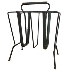 Jacques Adnet Green Leather Magazine Rack