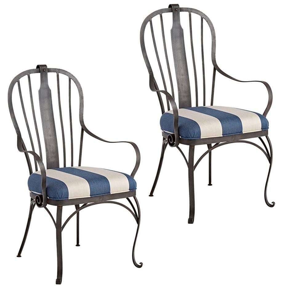 Pair Of Wrought Iron Patio Chairs With Reupholstered Cushions, Circa 1920s 1