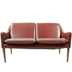 Hans Olsen Leather Settee Model 800 for C/S Møbler, Denmark, 1958