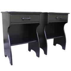 Mid-Century Colonial Modern Maple Nightstands in Black by Cushman Furniture