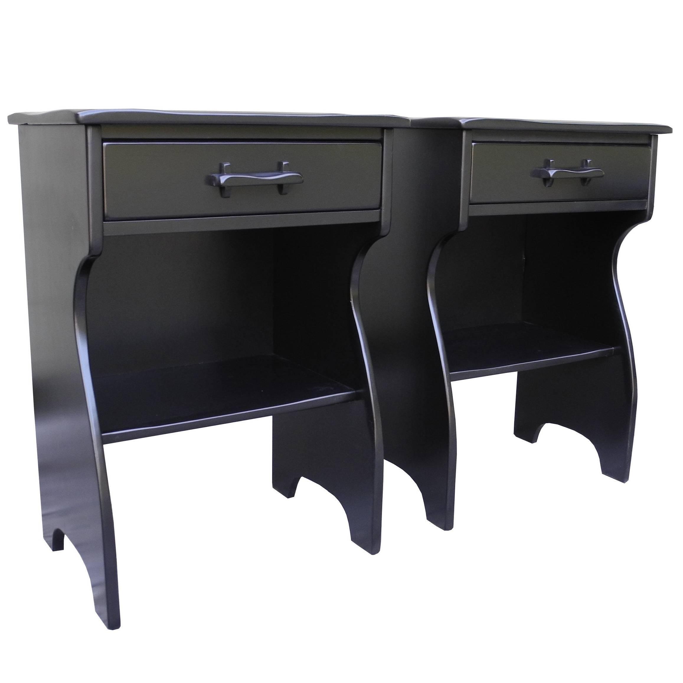 Marvelous Mid Century Colonial Modern Maple Nightstands In Black By Cushman Furniture  1