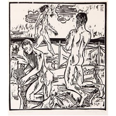 """Three at the Beach,"" Rare Mid-Century Linocut Print by Berger"