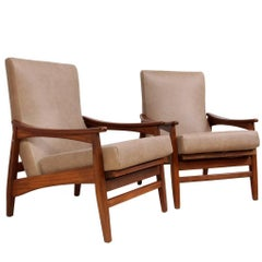 Mid-Century Teak and Leather Armchairs