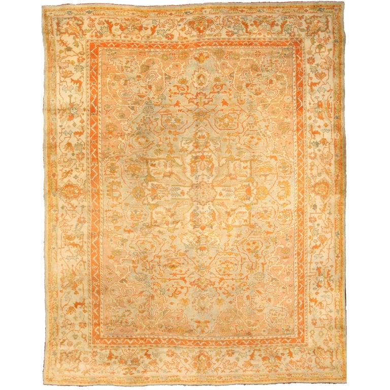 Antique Turkish Oushak Carpet At 1stdibs