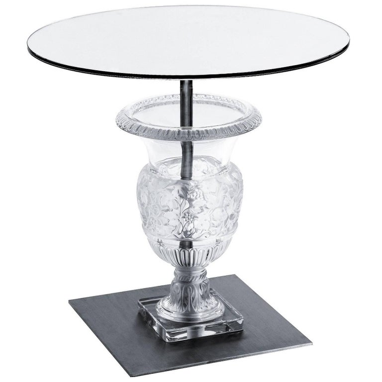 Lalique Clear Crystal Versailles Pedestal Side or Accent Table