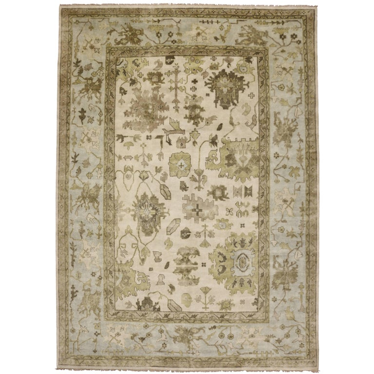 Modern Oushak Rug: New Modern Oushak Rug With Transitional Style For Sale At