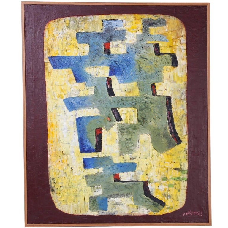 Mid-Century Oil on Canvas Abstract Painting For Sale